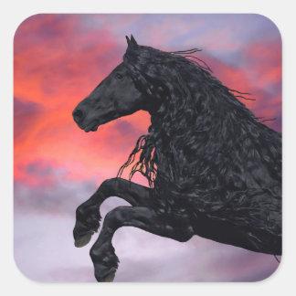 """Pegatina Cuadrada Pegatinas de """"elevación"""" del caballo"""