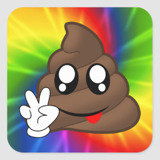 Pegatina Cuadrada Pegatinas de Emoji del impulso del signo de la paz