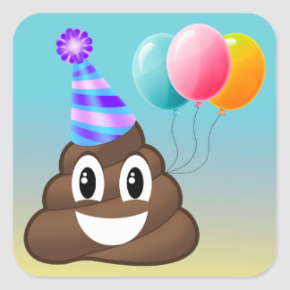Pegatina Cuadrada Pegatinas de Emoji Ombre de la fiesta de
