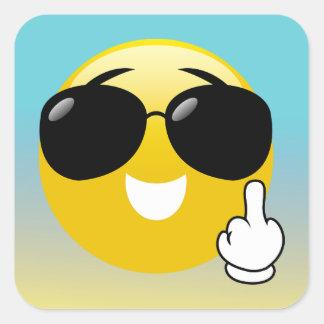 Pegatina Cuadrada Pegatinas de Emoji Ombre del dedo medio y de las