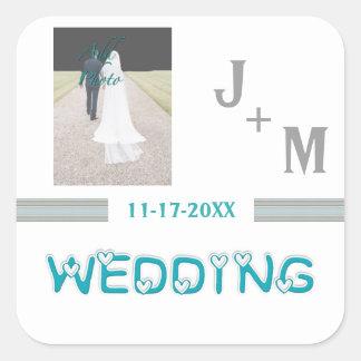 Pegatina Cuadrada Pegatinas de encargo de moda del boda de la foto