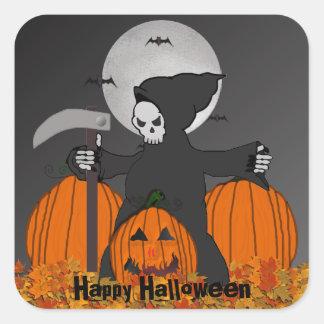 Pegatina Cuadrada Pegatinas de Halloween del parca