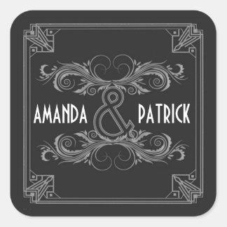 Pegatina Cuadrada Pegatinas de la bodas de plata negra y del vintage