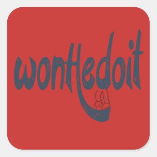 Pegatina Cuadrada Pegatinas de la casilla negra roja y de WonHedoit