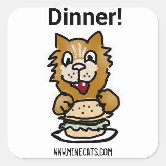 Pegatina Cuadrada Pegatinas de la cena del gato
