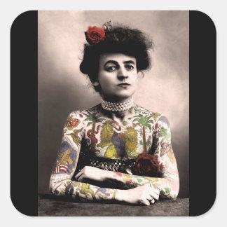 Pegatina Cuadrada Pegatinas de la fotografía del vintage de la mujer