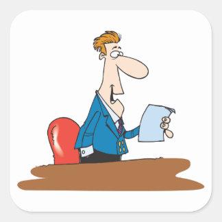 Pegatina Cuadrada Pegatinas de la lectura del hombre de negocios