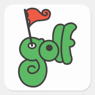 Pegatina Cuadrada Pegatinas de la muestra del golf