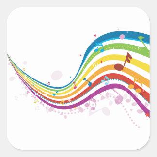 Pegatina Cuadrada Pegatinas de la onda de la música del arco iris