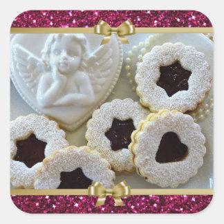 Pegatina Cuadrada Pegatinas de las galletas de la jalea del navidad