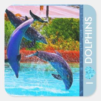 Pegatina Cuadrada Pegatinas de los amantes del delfín