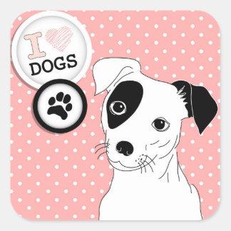 Pegatina Cuadrada Pegatinas de los amantes del perro