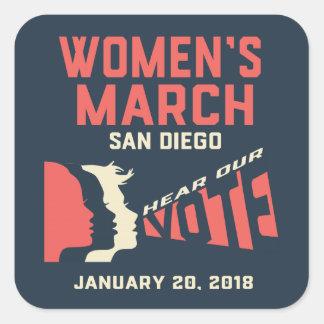 Pegatina Cuadrada Pegatinas de marzo San Diego de las mujeres