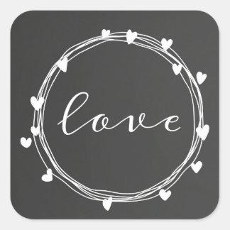 Pegatina Cuadrada Pegatinas del amor del el día de San Valentín