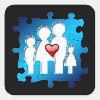 Pegatina Cuadrada Pegatinas del cuadrado de la familia del amor