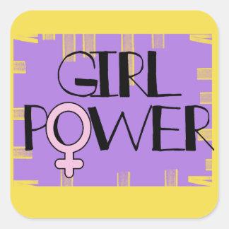 Pegatina Cuadrada Pegatinas del cuadrado del poder del chica