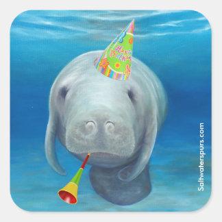 Pegatina Cuadrada Pegatinas del cumpleaños del Manatee