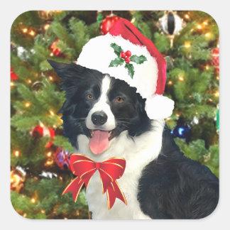 """Pegatina Cuadrada """"Pegatinas del día de fiesta del perrito de Santa"""""""
