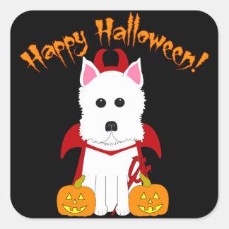 Pegatina Cuadrada Pegatinas del diablo de Westie del feliz Halloween