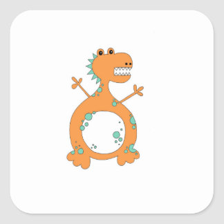 Pegatina Cuadrada Pegatinas del dinosaurio