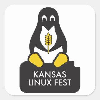 Pegatina Cuadrada Pegatinas del Fest de Kansas Linux