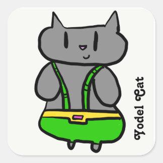 Pegatina Cuadrada Pegatinas del gato del modo de cantar de los