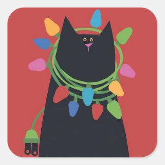 Pegatina Cuadrada Pegatinas del gato del navidad