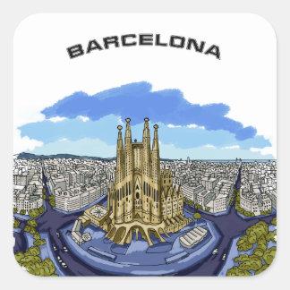 Pegatina Cuadrada Pegatinas del ilustracion de Barcelona