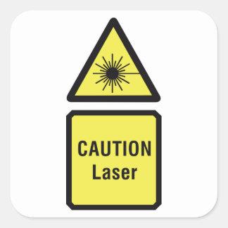 Pegatina Cuadrada Pegatinas del laser de la precaución