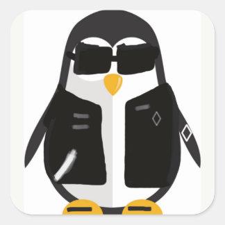 Pegatina Cuadrada Pegatinas del motorista del pingüino