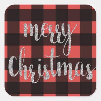Pegatina Cuadrada Pegatinas del navidad de la tela escocesa