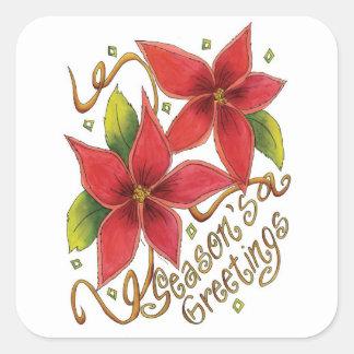 Pegatina Cuadrada Pegatinas del navidad de los Poinsettias de los