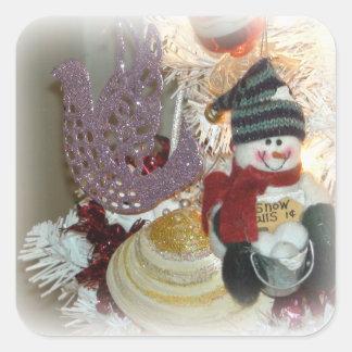 Pegatina Cuadrada Pegatinas del ornamento del navidad del muñeco de