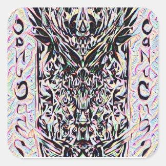 Pegatina Cuadrada Pegatinas del sacerdote del dragón