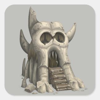 Pegatina Cuadrada Pegatinas del templo del cráneo
