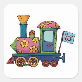 Pegatina Cuadrada Pegatinas del tren del juguete