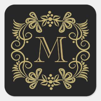 Pegatina Cuadrada Pegatinas elegantes del monograma del negro y del