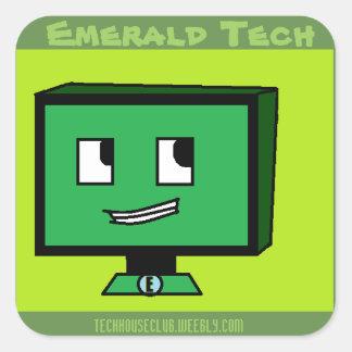 Pegatina Cuadrada Pegatinas esmeralda de la tecnología