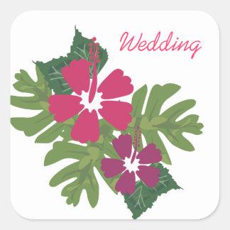 Pegatina Cuadrada Pegatinas hawaianos del boda del hibisco