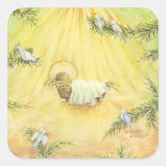 Pegatina Cuadrada Pegatinas Jesús del navidad en pesebre con las