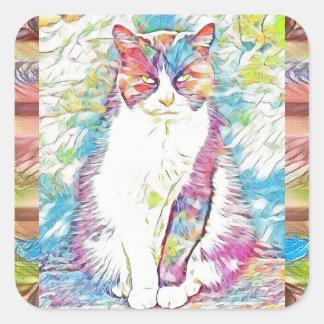 Pegatina Cuadrada Pegatinas lindos del arte abstracto del gato del