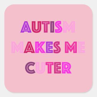 Pegatina Cuadrada Pegatinas lindos del autismo