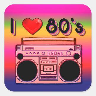 Pegatina Cuadrada Pegatinas retros de los años 80 de Boombox