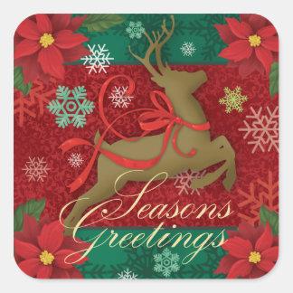Pegatina Cuadrada Pegatinas rojos festivos del reno, saludos de las