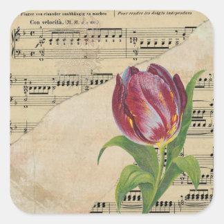 Pegatina Cuadrada Pegatinas románticos de los tulipanes de la música