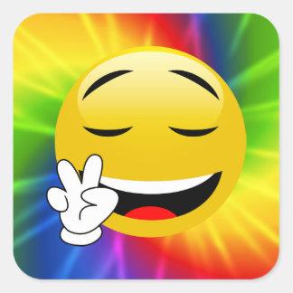 Pegatina Cuadrada Pegatinas sonrientes de Emoji del signo de la paz