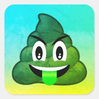 Pegatina Cuadrada Pegatinas verdes de Emoji Ombre del impulso