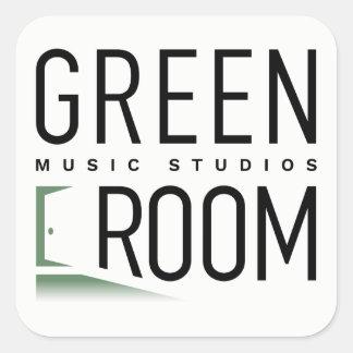 Pegatina Cuadrada Pegatinas verdes de los estudios de la música del