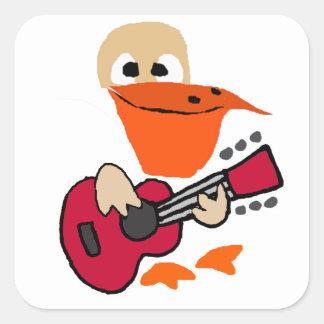 Pegatina Cuadrada Pelícano divertido que juega arte de la guitarra