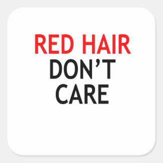Pegatina Cuadrada pelo rojo